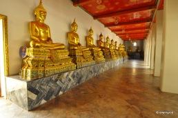 Buddha Reihe wie es an jedem Eingang zum Tempel gibt