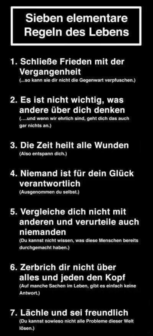 7 wichtige Regeln des Lebens