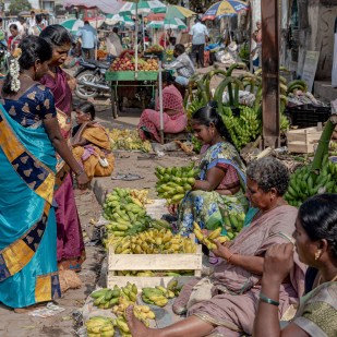 Die Hausfrauen beim Einkauf