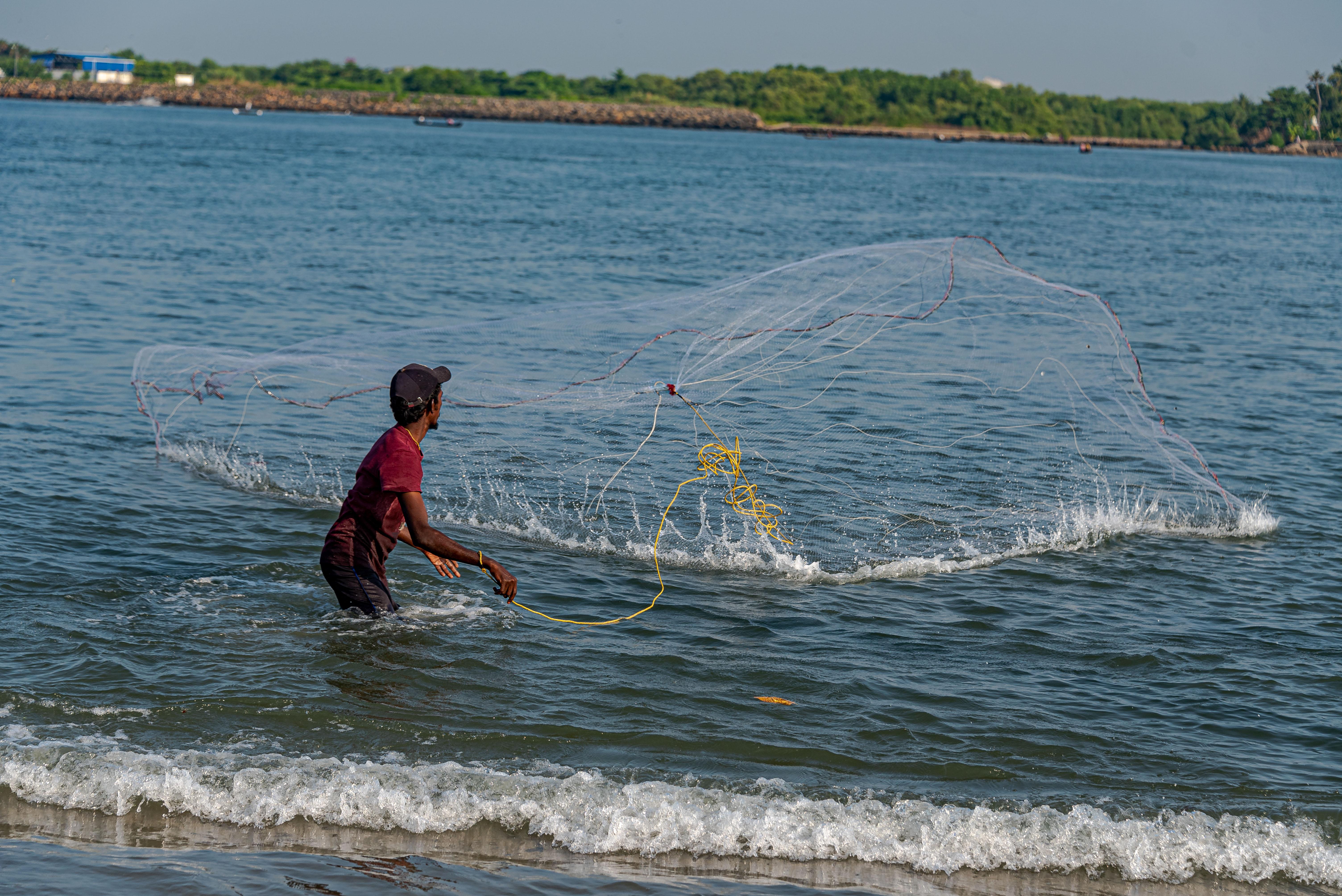 Netz Fischer in Kochi Süd Indien